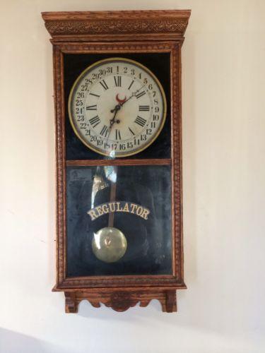 Antique Regulator Wall Clock Ebay