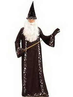 Wizard Costume Adult 2 Pc Black Velour Robe W/ Silver Stars & Moons Hat OS