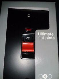 DOUBLE POLE SWITCH & NEON 2 GANG 45 AMP ULTIMATE FLAT PLATE. MATT BALCK NEW