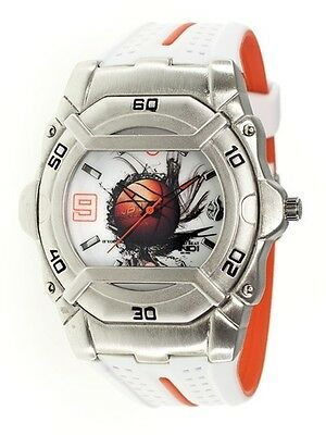 AND1 Logo Dial Basketball 51004 White Strap Sports Men's Watch ~ BRAND NEW -