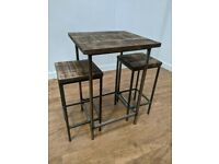 New Bespoke Hand Crafted Wooden Poseur Table Stool Set Pub Bar Bistro