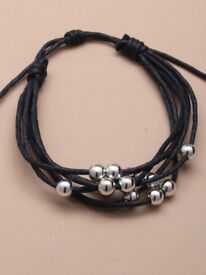 Multi strand cord friendship bracelet with small silver coloured beads - JTY027