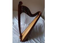 Teifi Eos with Scroll 36 string concert gauge clarsach, beautiful sound