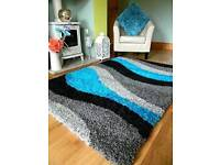 Grey/Teal and Black 120x170cm Shaggy rug