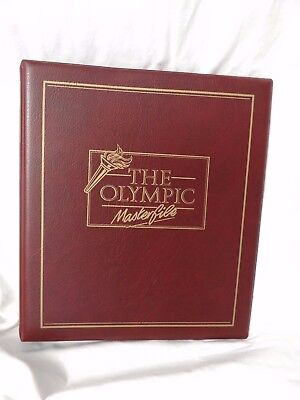 USED BURGUNDY 4-RING STAMP ALBUM NO PAGES THE OLYMPIC MASTERFILE