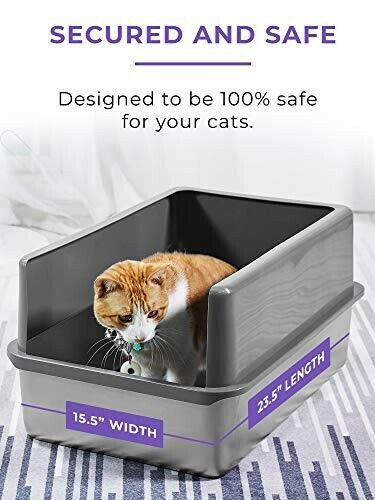 Extra Deep Cat Litter Pan with Hood Cover - Stainless Steel Cleans Easily