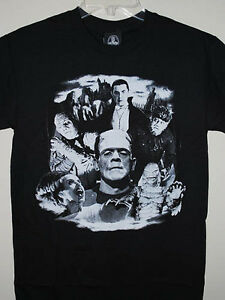 Rock-Rebel-Universal-Monsters-Dracula-Bride-of-Frankenstein-Mens-Black-T-Shirt-S