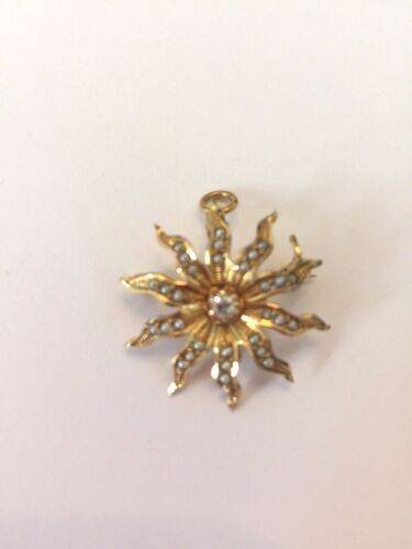 Victorian 10 Karat Gold Diamond And Seed Pearl Brooch Pendant