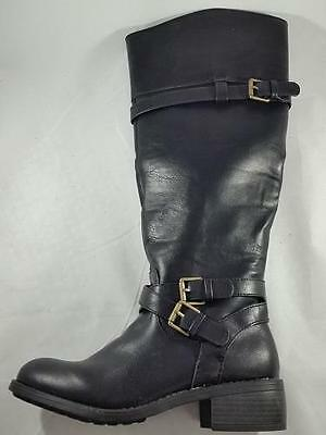 (Women's RAMPAGE IZABELLA Knee High Pull On w/Ankle Zip Riding Dress Boots Black)