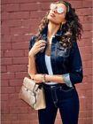Blue Cropped Regular Size Coats & Jackets for Women