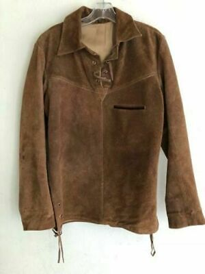 New Men Native American Buffalo hide Brown Suede Leather War Shirt Suede Leather Buffalo