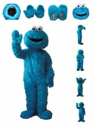Sesame Street Blue Cookie Monster Mascot Costume Adult Birthday Xmas Fancy Dress