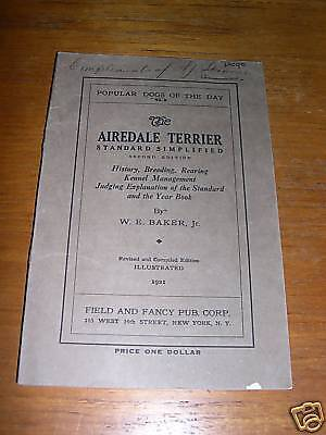 RARE AIREDALE TERRIER DOG BOOK 1921 BY BAKER