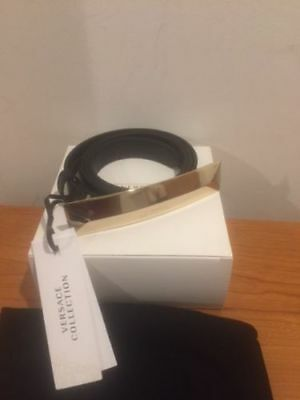 Versace Collection Faux Leather Slim Black Belt with Gold Hardware Sz 38/95cm