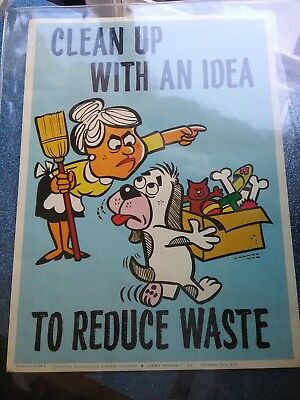 "Morton Suggestion System Poster ""Clean Up With An Idea To Reduce Waste"" (RARE)"