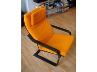 IKEA Black Poang Armchair with Orange Cuscion