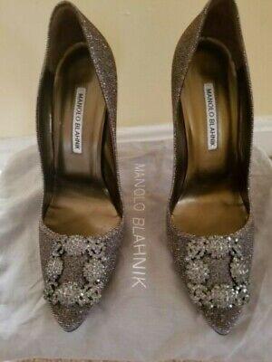 Women's Manolo Blahnik Hangisi Crystal-Buckle Shimmery Silver Pumps Size 39 US 9 Manolo Blahnik Crystal