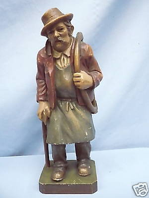 Beautiful, Old Wooden Figure __ Old with Axe and Saw __ 25cm_
