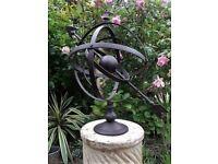 Armillary Hemispherian Sundial Sphere antique aged Metal Vintage Chic NEW