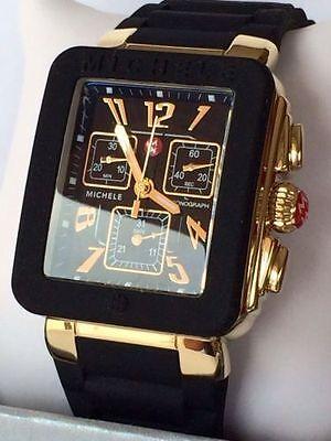 NEW Michele Jelly Bean Park Black & Gold Chronograph Watch MWW06L000015 Box