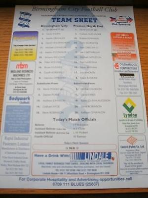 12/09/2000 Colour Teamsheet: Birmingham City v Preston North End . No obvious fa