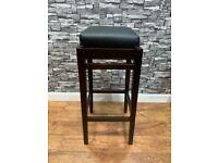 Heavy Duty Tall Dark Wood Bar Stool and Black Cushioned Seat Cafe Bar Bistro