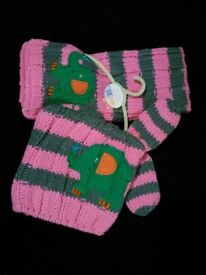 BNWT RRP £13 3-9 months Next pink knitted baby girls cut elephant set - hat, scarf, mittens