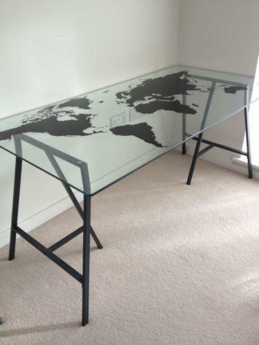 Ikea glass desk ebay for Ikea glass table tops