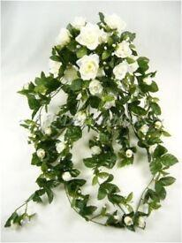 Artificial Silk Flower Rose w/ Bud