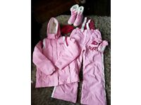 Girls NEXT ski jacket, salopettes, gloves and hat -12-13-14 yrs & snow boots size4