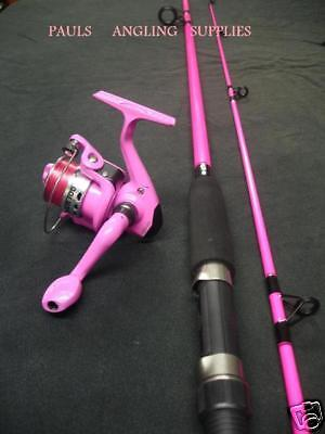 New Pink Fising Rod & Pink Fishing Reel With Line Fitted to Reel
