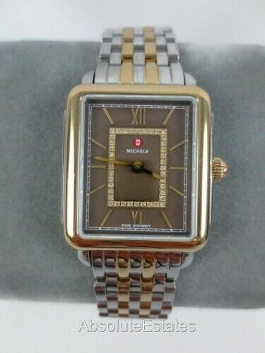 Michele Deco II Cocoa Two Tone Gold Silver Diamond Watch MWW