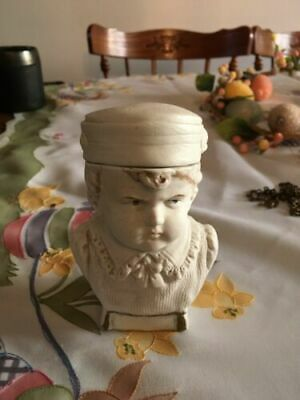 ANTIQUE VICTORIAN BISQUE HUMIDOR TOBACCO COOKIE JAR LITTLE BOY ITALY WHITE RARE
