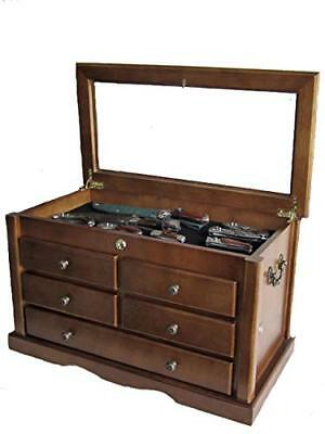 Knife Display Case Storage Cabinet with Shadow Box Top, Tool Box, KC07-WAL
