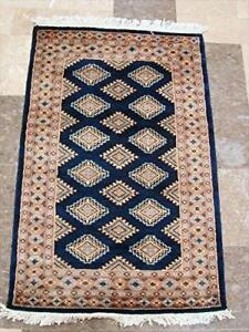 Wow Fine Mid Night Blue Jaldar Rectangle Hand Knotted Rug Wool Silk Carpet (4 x 2.6)'