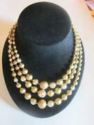 Vintage 3 Strand Pearl Necklace