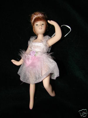 Porcelain Ballerina Doll Christmas Ornament Gift Beautiful Pink Dress