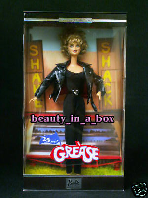 GREASE Sandy Black Leather 25th Anniversary Barbie Doll Olivia Newton John VG