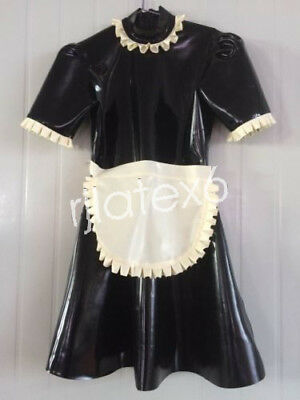 Latex Gummi Rubber White and Black Maid Masquerade Party Overall Size - Masquerade Kostüm Für Damen