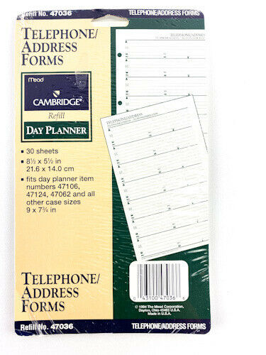 Mead Telephone & Address Forms Refill  for Cambridge Day Planner Refill # 47036