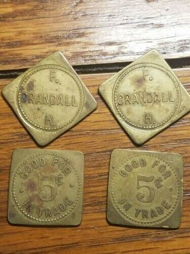F.H. Crandall 5¢ Virginia Nebraska set of 4 Token