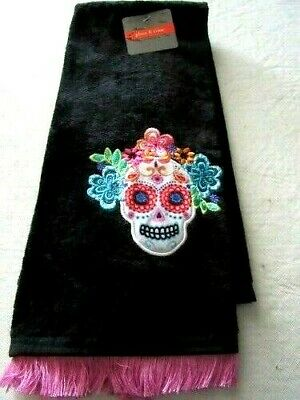 """Halloween Kitchen Hand Dish Towel Day of the Dead Skull 16"""" X 26"""" Black/Pink"""