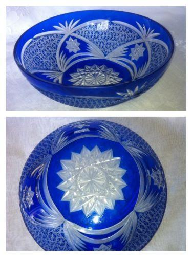Cobalt Blue Cut Glass Bowl Ebay