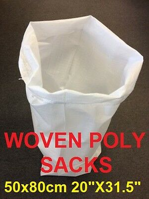 10 Woven Polypropylene Sacks Strong Builder Rubble sand Bag 50x80cm 20X31.5