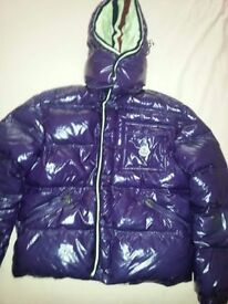 Real Puffa Down Women`s Winter Jacket -Moncler-Purple Colour -Size 12/UK