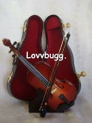 Lovvbugg Mini Wood Lux Violin for 18 inch American Girl Doll Accessory