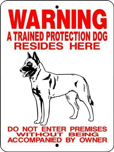 Warning Trained Protection Dog Belgian Malinois aluminum dog sign  9 x 12