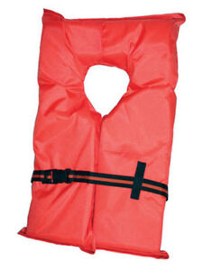 Type II Orange Life Jacket Vest PFD - Adult Universal - US Coast Guard Approved