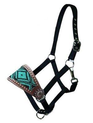 Showman Leather Bronc Halter w/ TEAL Beaded Navajo Design!! NEW HORSE TACK!! Black Leather Horse Halter