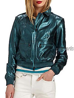 NWT Burberry Brit Green Statonbury Metallic Leather Jacket UK6 / US4 $1,999